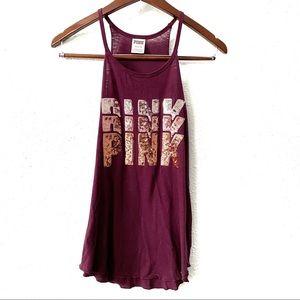 PINK Victoria's Secret Purple Sequin Tank Top S